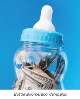 baby bottle filled with money