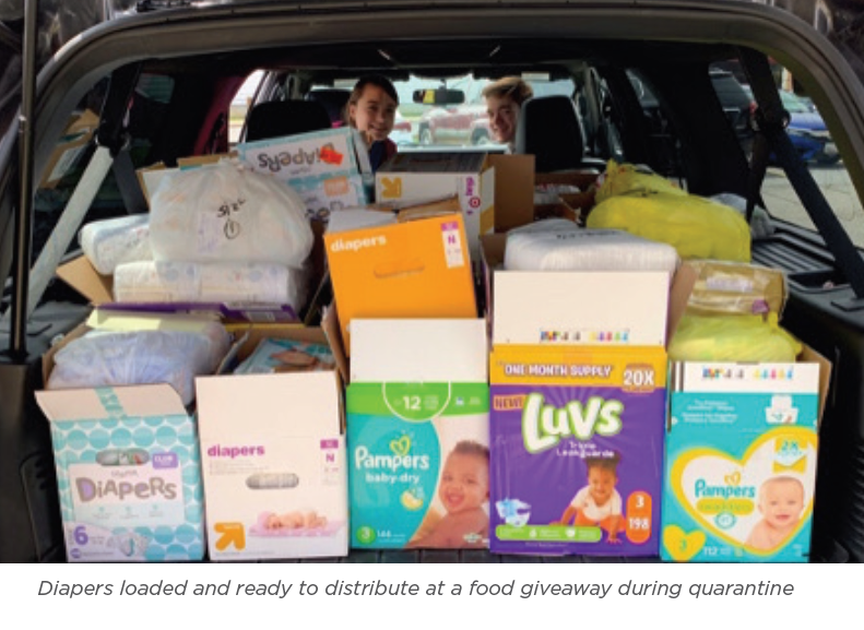 car loaded with donations for Birthright