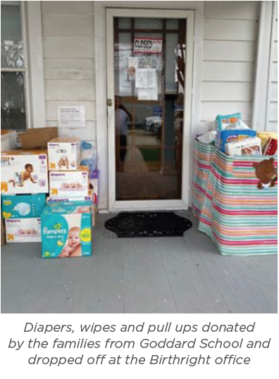 Goddard School donations left at Birthright front door